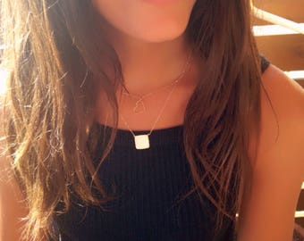 Geometric Necklace, SQUARE necklace, Gold Plated Silver Necklace, for her