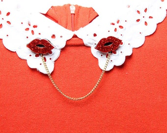 Glitter Red Lips Collar Clips - Laser cut acrylic - glitter acrylic -acrylic jewellery - plexiglass jewelery