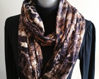 Infinity scarf/ Brown and White/Spring/Leopard/accessories/gifts/for her/women/fashion/sewing/lightweight/Toronto//wraps/spring