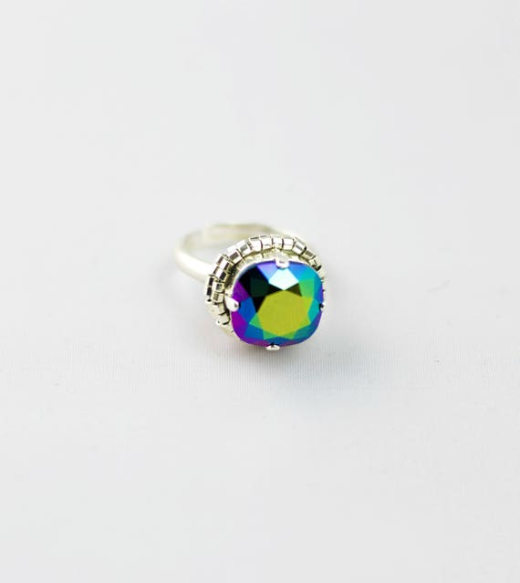 Silver ring with a crystal stone