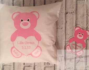 New baby personalised Boy / Girl cushion and matching door/wall hanger
