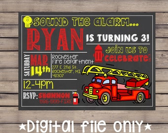 Firetruck Birthday Invitation / Firetruck Invitation / Firefighter invite / Firetruck Chalkboard /Firetruck Theme Invitation/Sound the Alarm