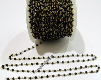 Natural Black Spinel Rondelle Faceted 3mm Beaded Chain , 24Kt Gold Plated Wire Wrapped Rosary Chain , 92.5% Sterling Silver - Sold Per Foot