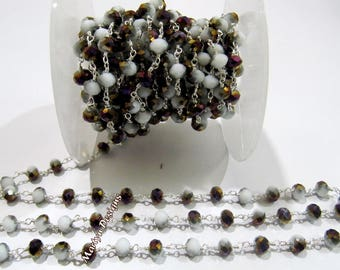 AAA Quality Mystic Grey and Purple Chalcedony Hydro Quartz Beaded Chain , 6mm Rondelle Faceted Rosary Chain , Wire Wrapped , Sold per 3 FEET