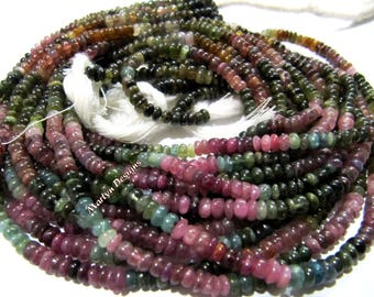 Best Quality Natural Multi Tourmaline Beads / Rondelle Smooth Beads 4-5 mm / Sold per Strand of 13 Inches Long / Watermelon Tourmaline Beads