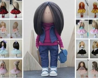 Nursery doll Unique doll Fabric doll Tilda doll Textile doll Handmade doll Blue doll Rag doll Art doll Baby doll Soft doll by Margarita