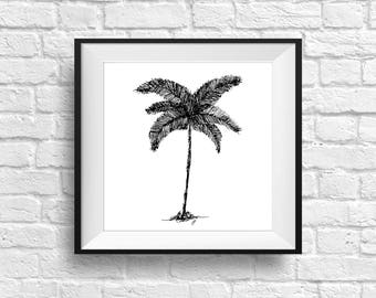 Palm Tree Drawing, Palm Tree Wall Art, Black and White Palm Tree Drawing, Beach House Decor, Beach House Art, Beach House Gift, Beach Decor