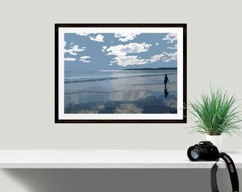 Blue and white beach print for the home, perfect art for neutral decor, peaceful and calming mindfulness print, ideal gift for girlfriend
