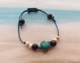 Nautical Adjustable Turquoise Turtle Charm Wood Beads White Opaque Toho Hippie Friendship Beach Bracelet Jewellery