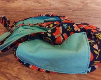 Fox Sky Blue Reversible Hobo Bag, Adjustable Tie Strap