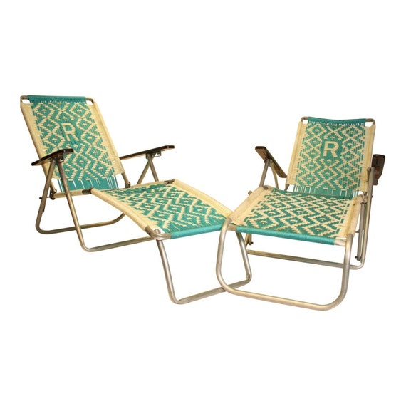 2 vintage aluminum folding chaise lounge by