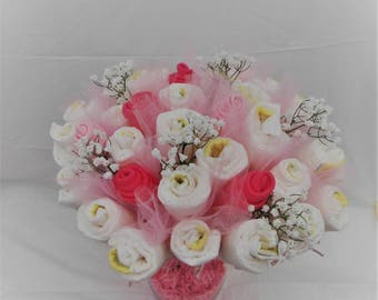Diaper bouquet pampers style 1 baby shower welcome gift for Pink diaper bouquet