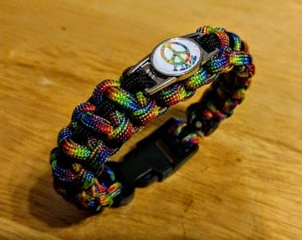 Hippie paracord bracelet with peace sign charm