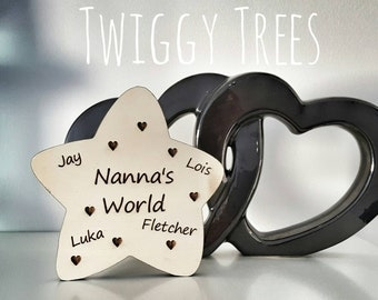 Freestanding Nanna Nanny Granny Grandma Gift Star Plaque wooden personalised family names nan grandparents grandchildren present engraved
