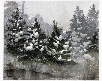 Winter Snow, Snow-Covered Pine Trees, Falling Snow, Holiday Watercolor Prints, Snow Drifts, Calm Pond, Reflection, Landscape Painting