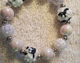 Lampwork Sheep and Sugar Bead Stretch Bracelet