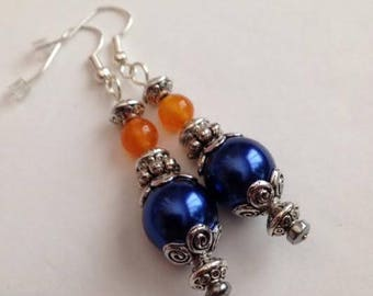 Orange and Blue Earrings, Blue and Orange Earrings, Orange and Blue Jewelry, Blue and Orange Jewelry, Ships From USA