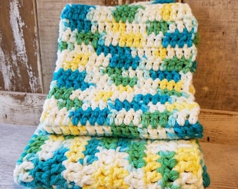 Crochet Washcloth, Crochet Dishrag, 100% Cotton, Dish Cloth