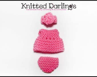 "Handmade knitted 3 piece set for mini baby 4,5""- 5"" by Knitted Darlings #53"
