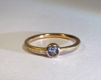 Rose gold engagement ring 18 k tanzanite 3 mm