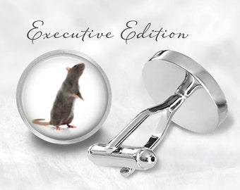 Rat Cufflinks - Rat Cuff Links - Rodent Cufflink - Pet Rat Cuff (Pair) Lifetime Guarantee (S0108)
