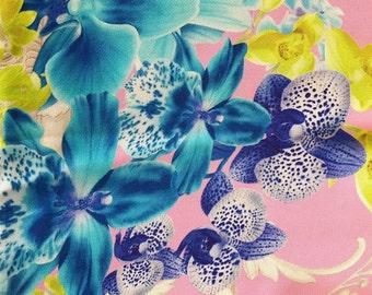 Versace Silk Scarf 86cm - Pink, Blue, Green, Flower Design
