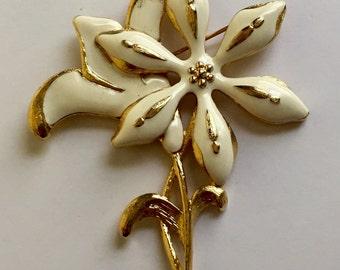 "Vintage Monet Brooch, Monet Pin, Monet White Enamel Brooch, Vintage Flower Pin, Gold Tone, White Flower Pin, Large Flower Jewelry, 3 1/4"" L"
