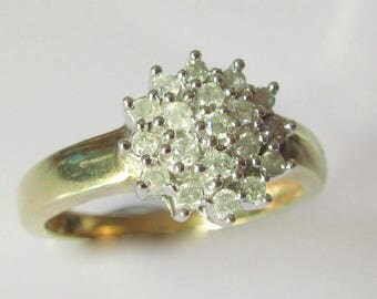 9ct Gold Diamond Cluster Ring UK Size K