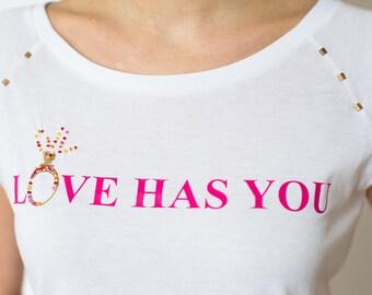 Love motive, bridal party T-shirts, bridal shower T-shirt, hen T shirts, printed T-shirt, wedding T shirts, T Shirt printing