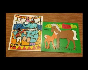 Vintage playskool wooden puzzles
