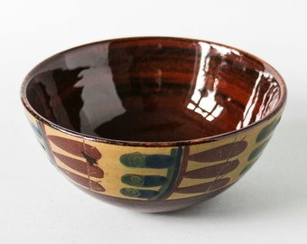 Small Bowl Brown Green Beige Stilized Leaves Pattern Vintage 60s Pottery