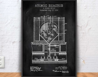 ATOMIC REACTOR patent print, nuclear reactor patent, nuclear power station blueprint, nuclear power plant, electricity poster, #1244