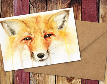 Red Fox Watercolour Greetings Card - Christmas, Birthday, Any Occasion