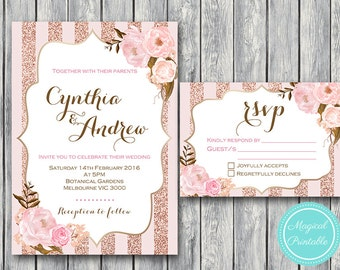 Pink Wedding Invitation Set, Wedding Invitation Printable, Pink Floral Engagement Party Invitation, Wedding Invitation Suite WD90 WI32