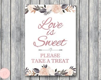 Rose Gold Love is sweet, take a treat sign, Thank you sign, Wedding Sign, Decoration, Engagement party, Wedding Shower TH83