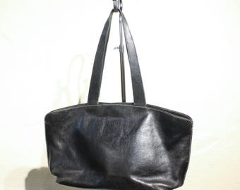 Vintage Latico Black Wide Tote Bag with Long Strap
