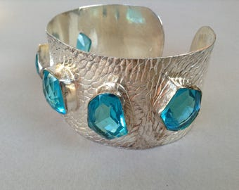 Sterling Silver Faceted Blue GlassTopaz Cuff Bracelet