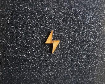 3x Lightning Bolt Button - Bamboo (thunder, flash, lightning, thunderstorm, timber, wood, dressmaking, diy supplies, embellishment)