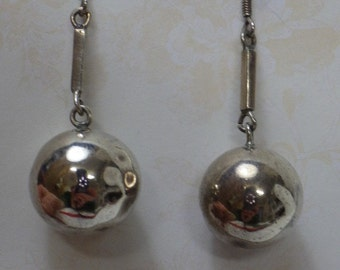 "Vintage drop sterling silver 15mm ball earrings 2"" drop"