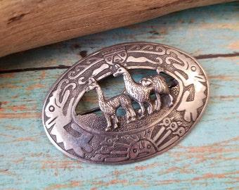 Sterling silver Peru brooch pin sterling Peruvian lama pin sterling silver jewelry OB1978