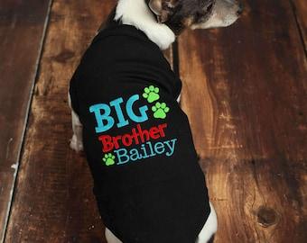 Personalized Big Brother Dog Shirt - Custom Big Brother Dog Shirt - Embroidered Brother Pet Shirt - Personalized Big Brother Dog Tee - Tank