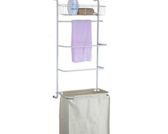 Over-the-Door Towel Rack and Laundry Hamper