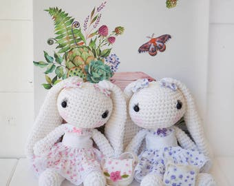 Easter Bunny Amigurumi Long Eared Rabbit Crochet Bunny Baby Shower Gift Doll