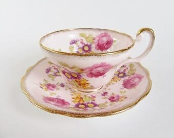 Foley Teacup and Saucer, Vintage EB Foley Teacup, Pink Foley Teacup, Pink Roses Purple Yellow Flowers, Bone China Made in England, Tea Party