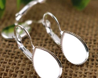 20pcs, 14x10mm Teardrop Cabochon Settings, French Leverback, Bright Silver Plated Cabochons Blank, Earring Components, DIY Jewelry Findings