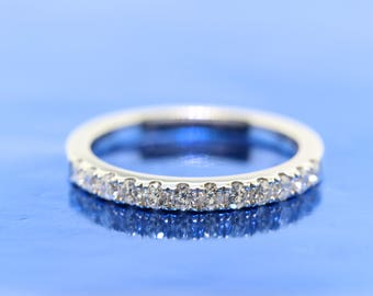 Ladies 18k Diamond White Gold Wedding Band, Anniversary Band, Bridal Ring. Matching Diamond Ring for Moissanite Engagement Ring.