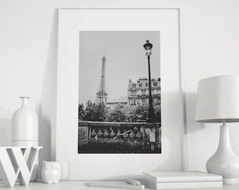 Paris art print, Paris black and white, Eiffel Tower decor, Eiffel Tower Photo, Paris photography, Paris wall art, Paris digital print