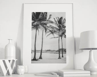 Palm Trees Print, Tropical Print, Ocean Print, Palm Print, Coastal Art, Beach Wall Art, B & W, Beach Print, Beach Palms Print, Palm Decor