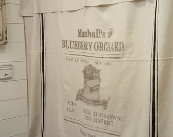 Personalized grain sack Window or Shower curtain--Blueberry Orchard pattern