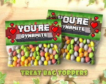 Mine Themed Valentines Day Youre Dynamite Favor Bag Toppers Treat Topper